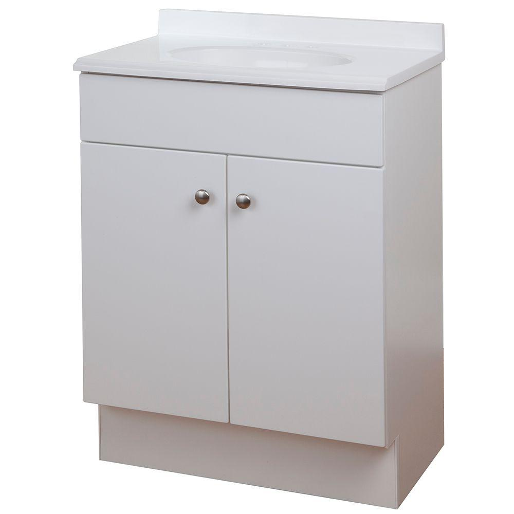 24-1/2 in. W Bath Vanity in White with Vanity Top in