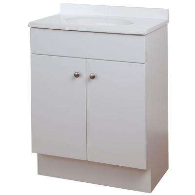 24 in. W x 35 in. H x 17 in. D Bath Vanity in White with Vanity Top in White