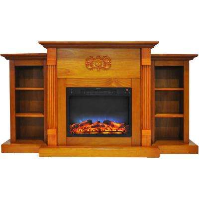 Classic 72 in. Electric Fireplace in Teak with Built-in Bookshelves and a Multi-Color LED Flame Display