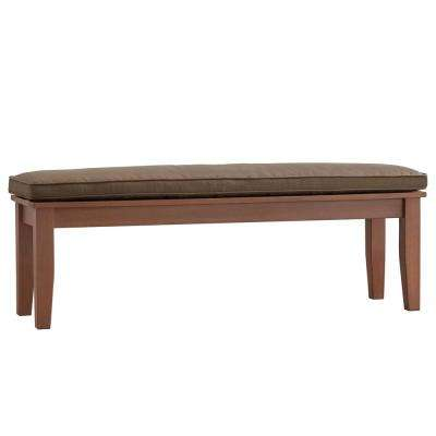 Verdon Gorge 55 in. Oiled Wood Outdoor Bench with Brown Cushion