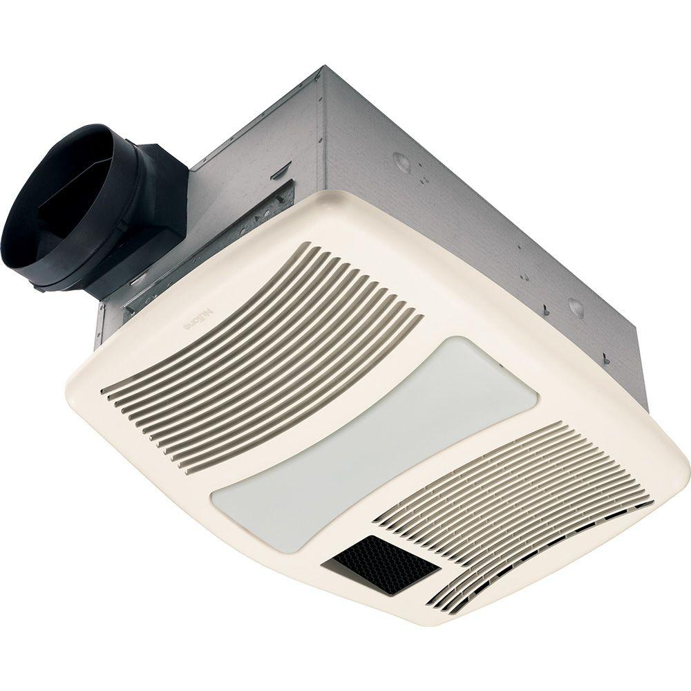 Nutone qtxn series very quiet 110 cfm ceiling exhaust fan - Nutone ventilation fan with heater and light ...