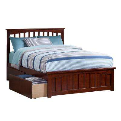 Mission Walnut Full Platform Bed with Matching Foot Board with 2-Urban Bed Drawers