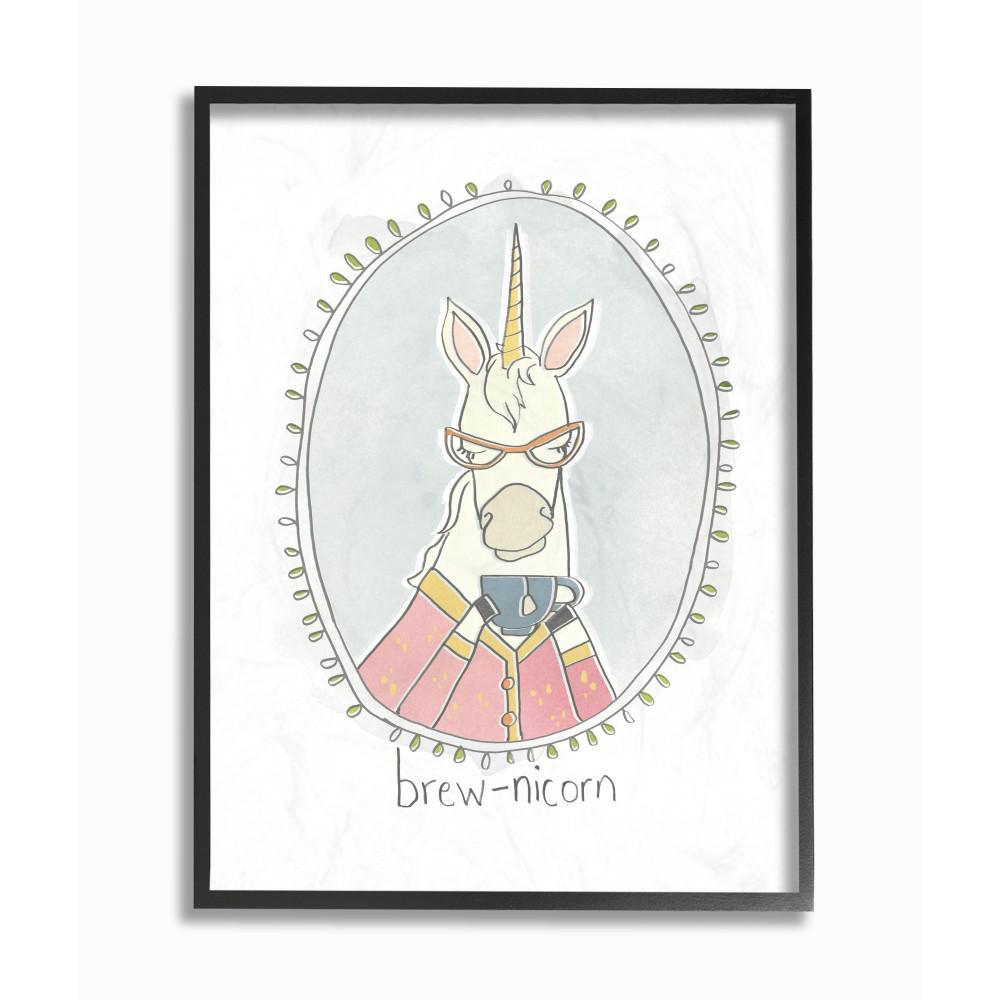 "16 in. x 20 in. ""Caffeinated Cutie Brew-Nicorn Unicorn Funny Cartoon Coffee"" by June Erica Vess Printed Framed Wall Art"