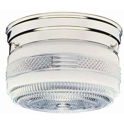 2-Light Chrome Ceiling Mount Fixture with Prismatic Glass