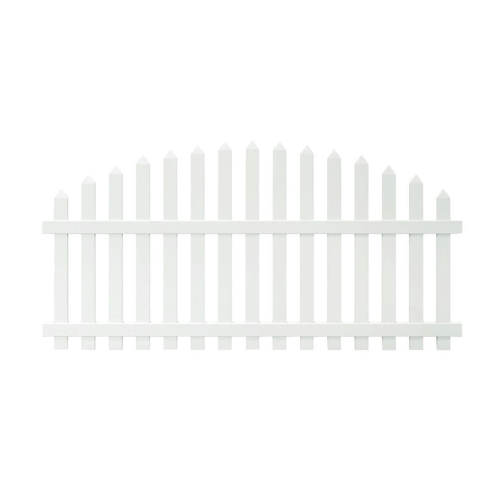 Veranda Glendale 4 ft. H x 8 ft. W White Vinyl Arched Top Spaced Picket Fence Panel with 3 in. Unassembled Pointed Pickets