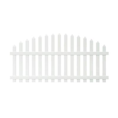 Glendale 4 ft. H x 8 ft. W White Vinyl Arched Top Spaced Picket Fence Panel with 3 in. Unassembled Pointed Pickets