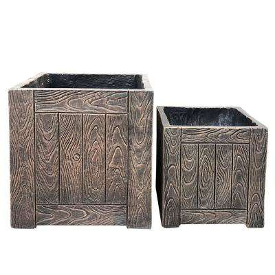 Lightweight Concrete Wood Grain Cube Bronze Planter (Set of 2)