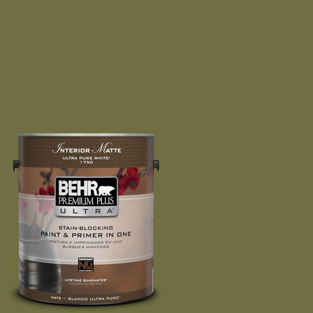 BEHR Premium Plus Ultra 1 gal. #M340-7 Classic Avocado Matte Interior Paint