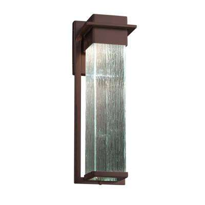 Fusion Pacific Large Dark Bronze LED Outdoor Wall Sconce with Rain Shade