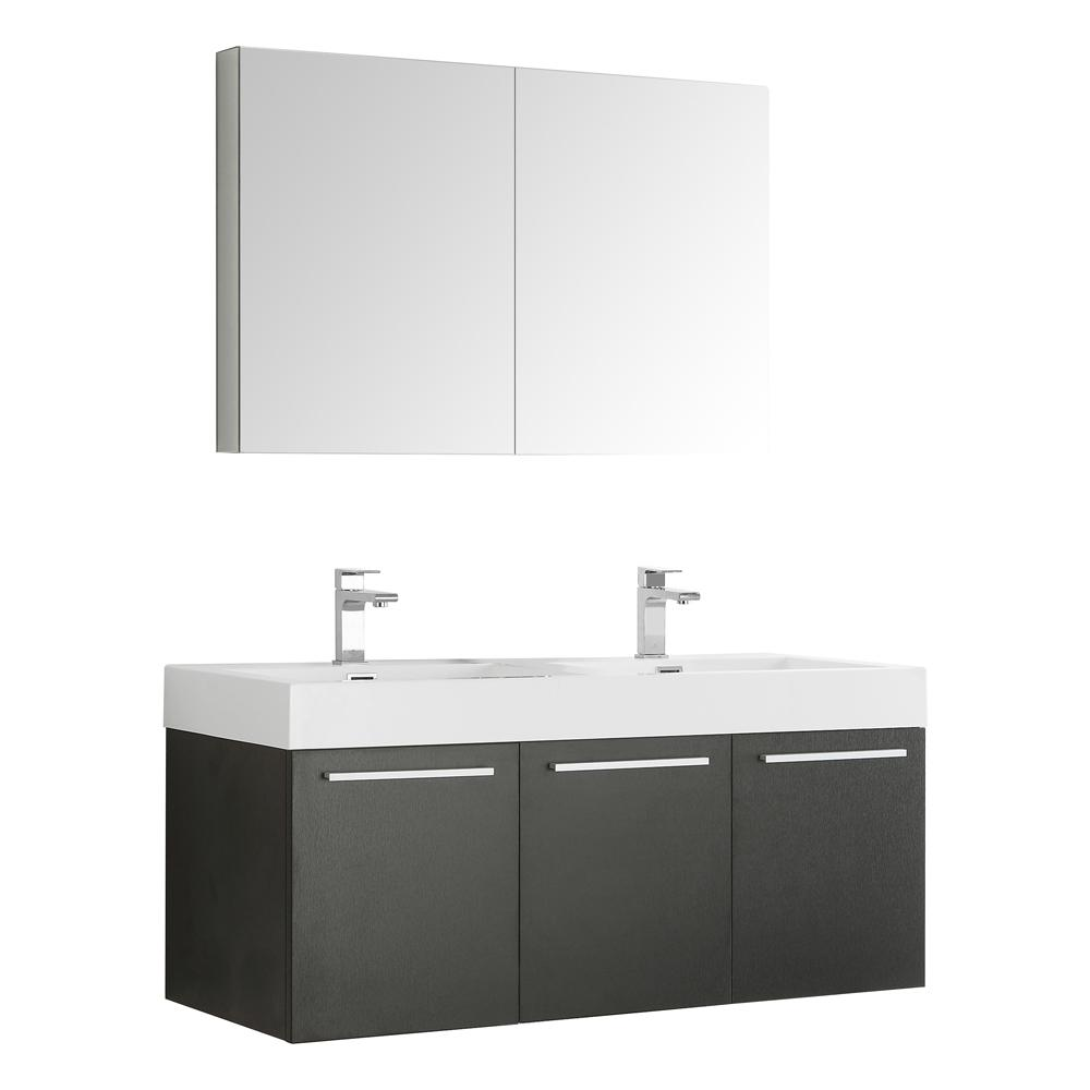 Fresca Vista 48 in. Vanity in Black with Acrylic Vanity Top in White with White Basins and Mirrored Medicine Cabinet