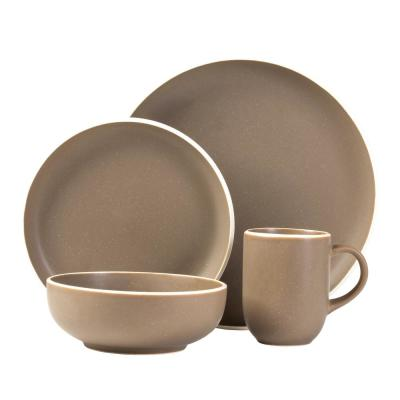 Tailor 16-Piece Casual Suede Stone Dinnerware Set (Service for 4)