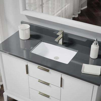 Undermount Porcelain Bathroom Sink in White with Pop-Up Drain in Brushed Nickel