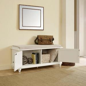 Super Crosley Palmetto White Entryway Bench Cf6010 Wh The Home Depot Cjindustries Chair Design For Home Cjindustriesco