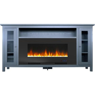 Somerset 70 in. Electric Fireplace with Crystal Rock Display in Blue