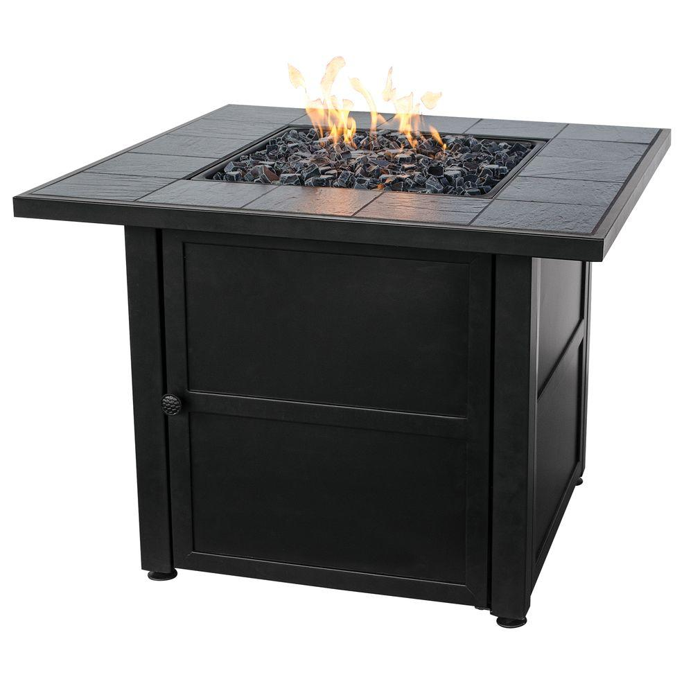 Captivating UniFlame Slate Tile Propane Gas Fire Pit