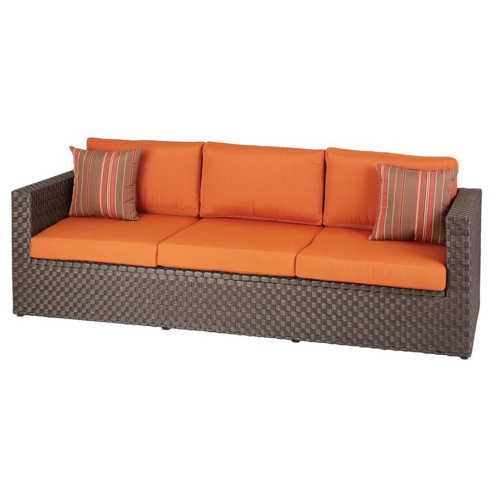 Hampton Bay Moreno Valley Patio Sofa With Sunbrella Canvas Rust Cushions