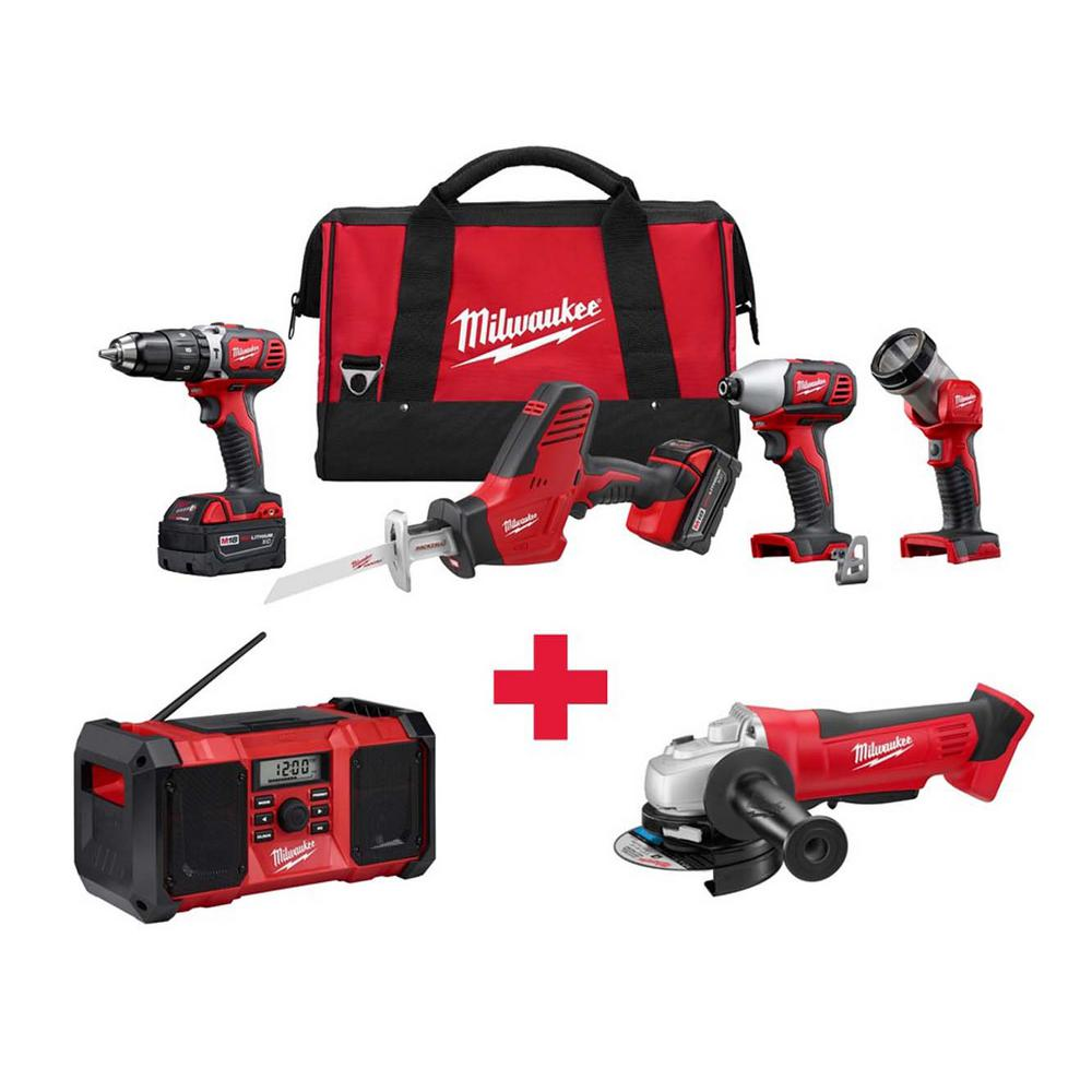 M18 18-Volt Lithium-Ion Cordless Combo Kit (4-Tool) with Free M18 Radio