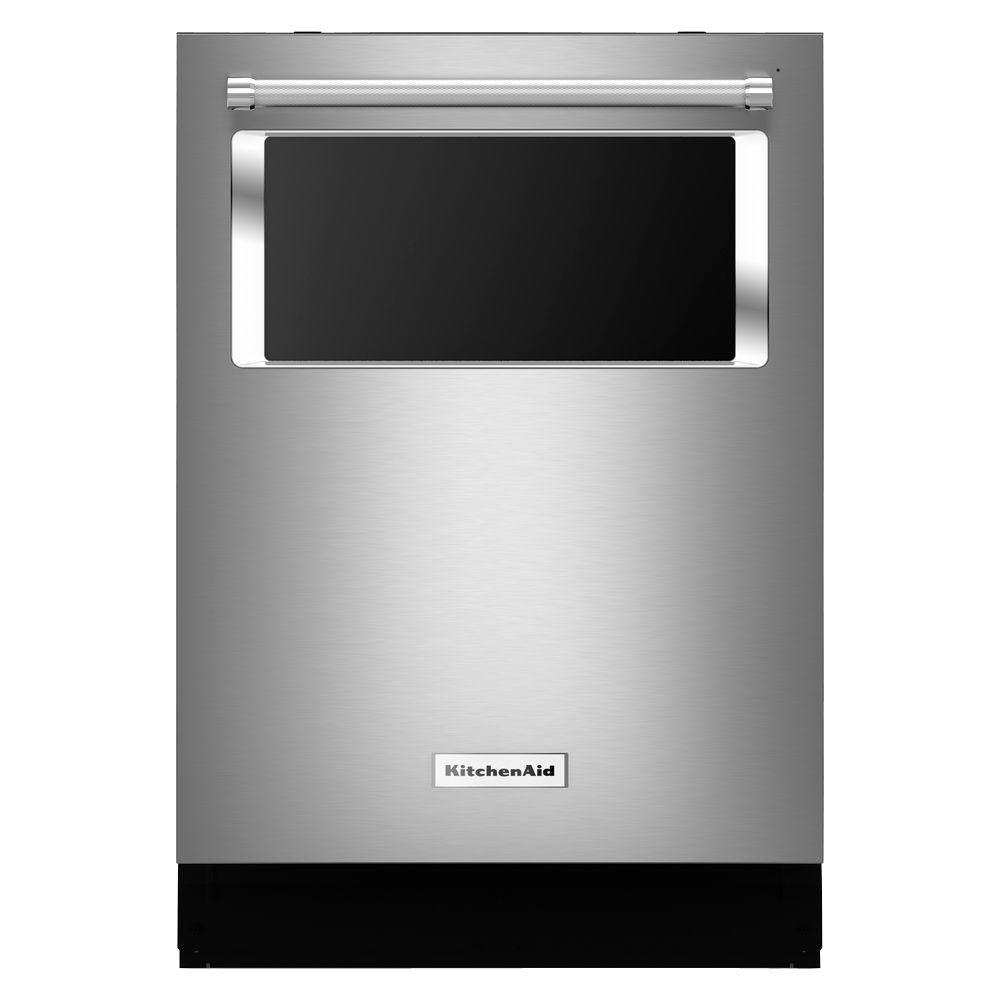 top control dishwasher in stainless steel with stainless steel tub and window