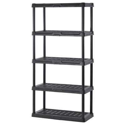 72 in. H x 36 in. W x 24 in. D 5-Shelf Black Plastic Shelving Unit