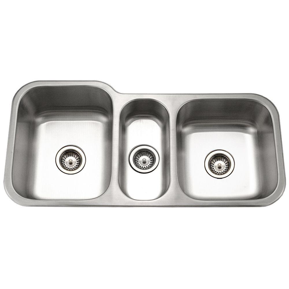 3 bowl kitchen sink houzer medallion gourmet undermount stainless steel 40 in 3852