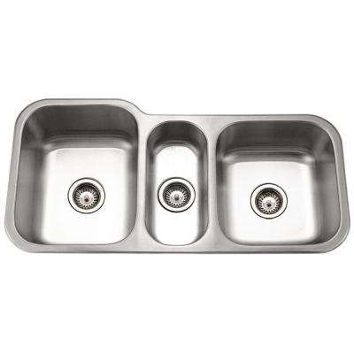 Medallion Gourmet Undermount Stainless Steel 40 in. Triple Bowl Kitchen Sink