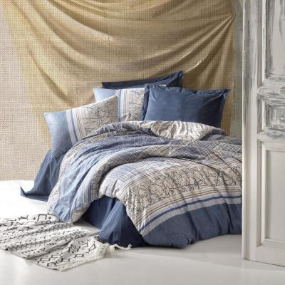 Blue Fall 100% Turkish Cotton Queen Size Duvet Cover Set, 1 Duvet Cover, 1 Fitted Sheet and 2 Pillowcases