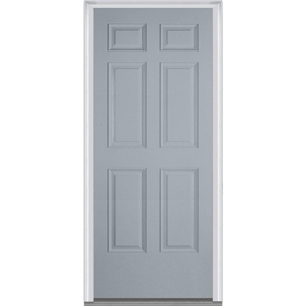 Mmi door 36 in x 80 in right hand inswing 6 panel for Prehung entry door with storm door