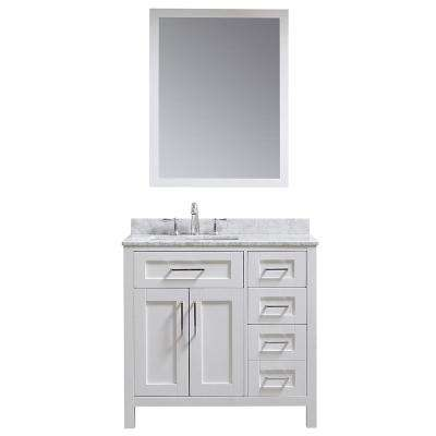 OVE Tahoe 36 in. W x 21 in. D Vanity in White with Carrara Marble Vanity Top in White with White Basin and Mirror