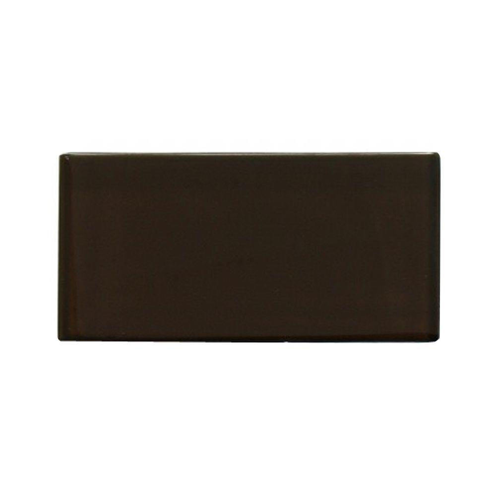 Splashback Tile Contempo Mahogany Frosted Glass Tile - 3 in. x 6 in. Tile Sample-DISCONTINUED