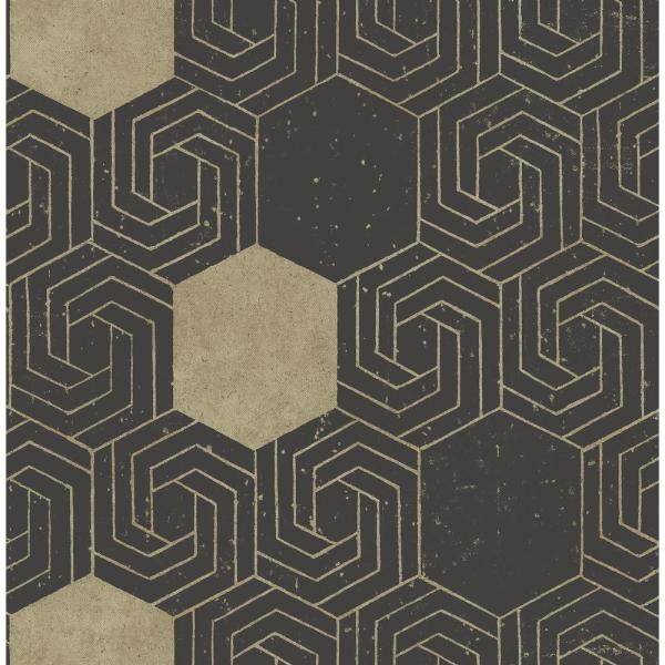 Momentum Dark Brown Geometric Paper Strippable Roll (Covers 56.4 sq. ft.)