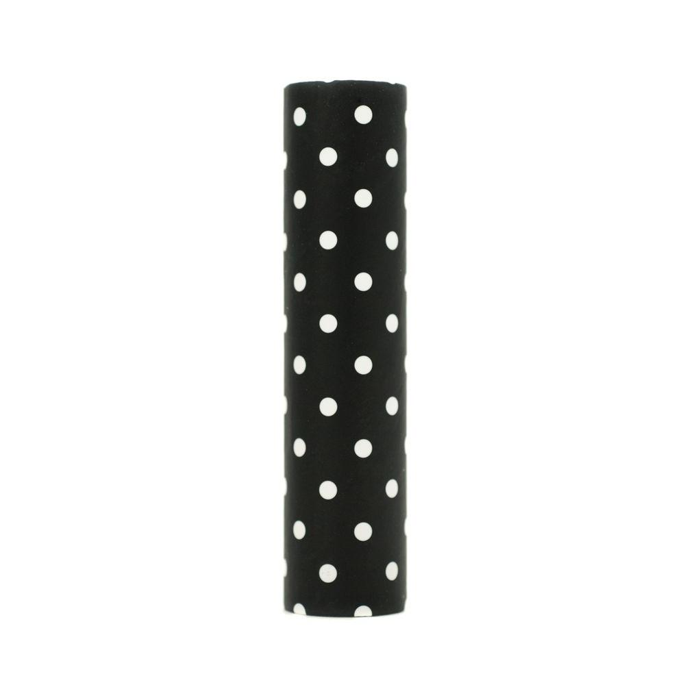 kaarskoker Polka Dot 4 in. x 7/8 in. Black Paper Candle Covers, Set of 2 - DISCONTINUED