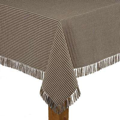 Homespun Fringed 60 in. x 120 in. Chocolate 100% Cotton Tablecloth