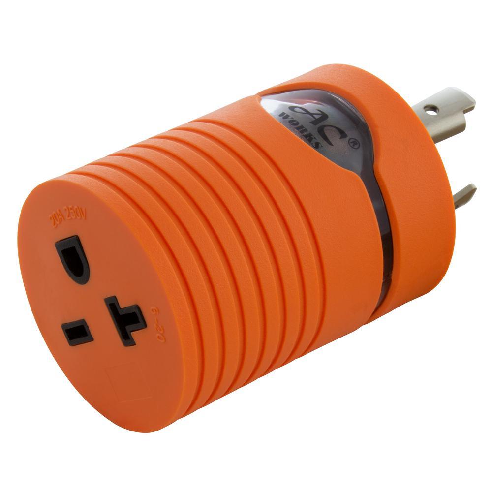 NEMA L6-20P 20 Amp 250-Volt Locking Plug to NEMA 6-15/20R 15/20 Amp 250-Volt Female Connector