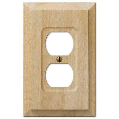 Cabin 1 Duplex Outlet Plate - Unfinished Alder Wood