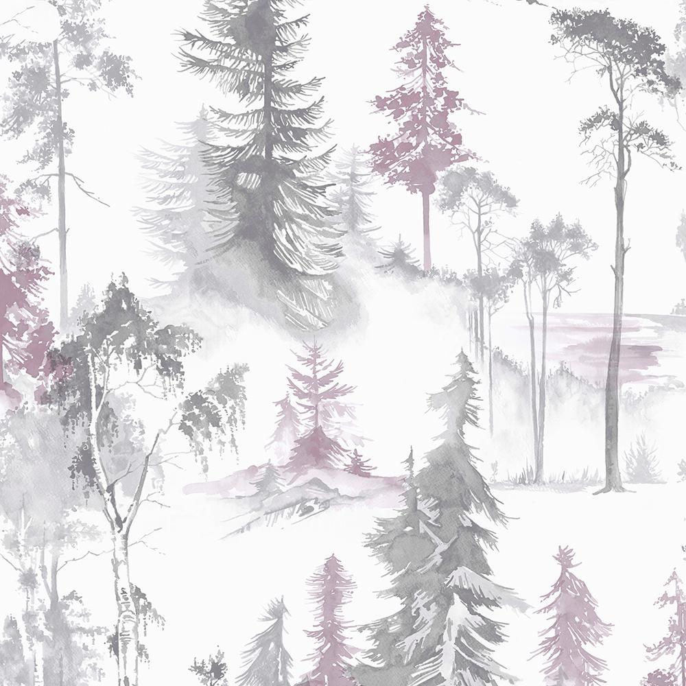 Highland Mystical Forest Lilac Wallpaper