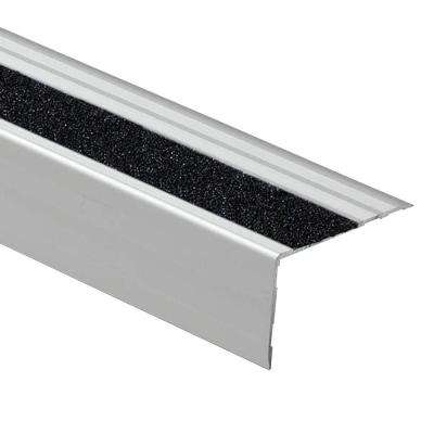 Novopeldano Safety Black Strip 2-1/2 in. x 1-9/16 in. x 98-1/2 in. Aluminum Stair Nosing Trim