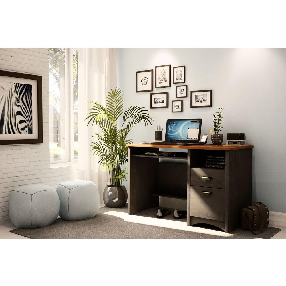South Shore Gascony Ebony and Spice Wood Desk