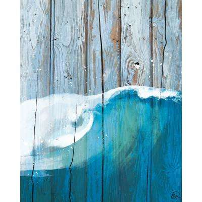 """11 in. x 14 in. """"Rustic Wave Blue"""" Planked Wood Wall Art Print"""