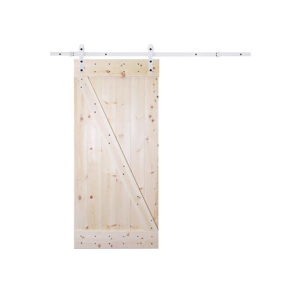 36 in. x 84 in. Z-Bar 1 Panel Unfinished Natural Wood