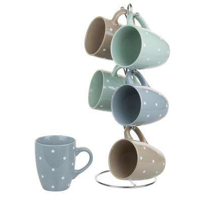 6-Piece 12 oz. Ceramic Mug Set with Stand