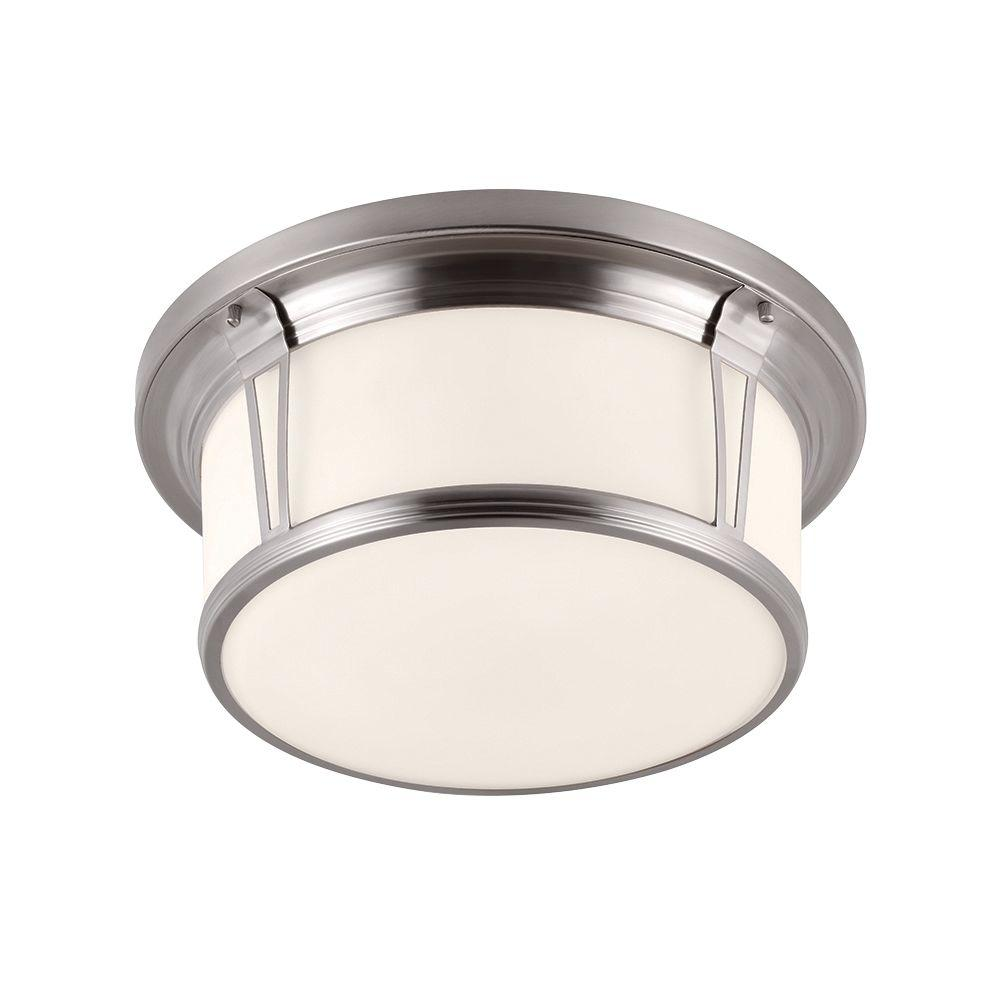 Feiss Woodward 3-Light Brushed Steel Flushmount
