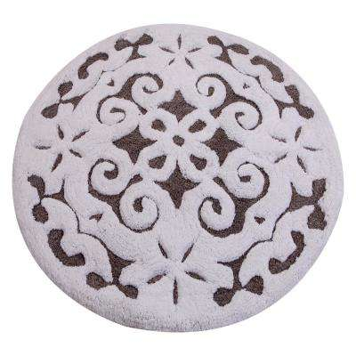 Damask 36 in. Round Cotton Gray/White Latex Spray Non-Skid Backing 200 GSF Machine Washable Bath Rug