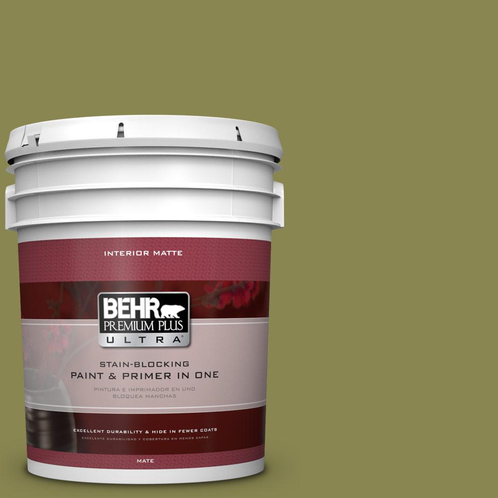 BEHR Premium Plus Ultra 5-gal. #T15-18 Snap Pea Green Flat/Matte Interior Paint