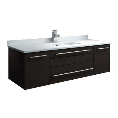 Lucera 48 in. W Wall Hung Bath Vanity in Espresso with Quartz Stone Vanity Top in White with White Basin
