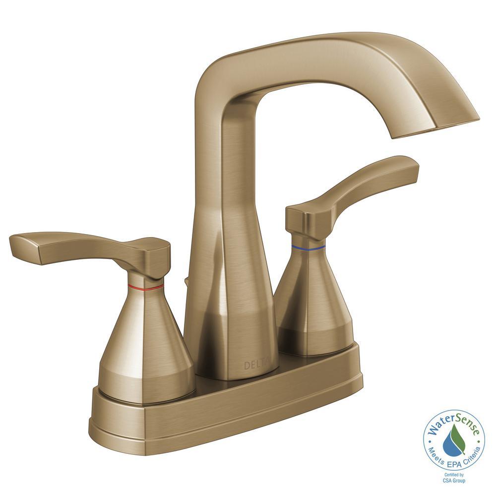 Stryke 4 in. Centerset 2-Handle Bathroom Faucet in Champagne Bronze
