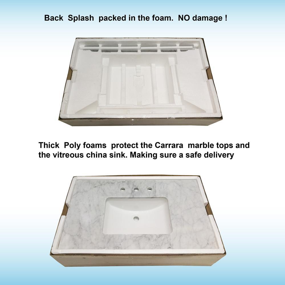 CAVT3722-1 Carrara Woodbridge 37 x22 Vanity Top with Under Mount Rectangle Bowl Single Faucet Hole Carra White Natrual Marble Stone