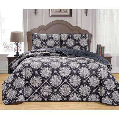 Kyoko White-Cameo Blue Full/Queen Coverlet Set