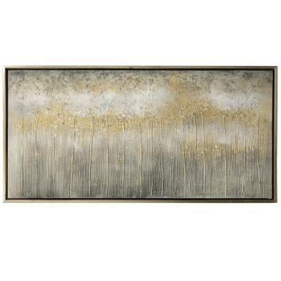Contemporary Gold Canvas, Wood Framed Wall Art