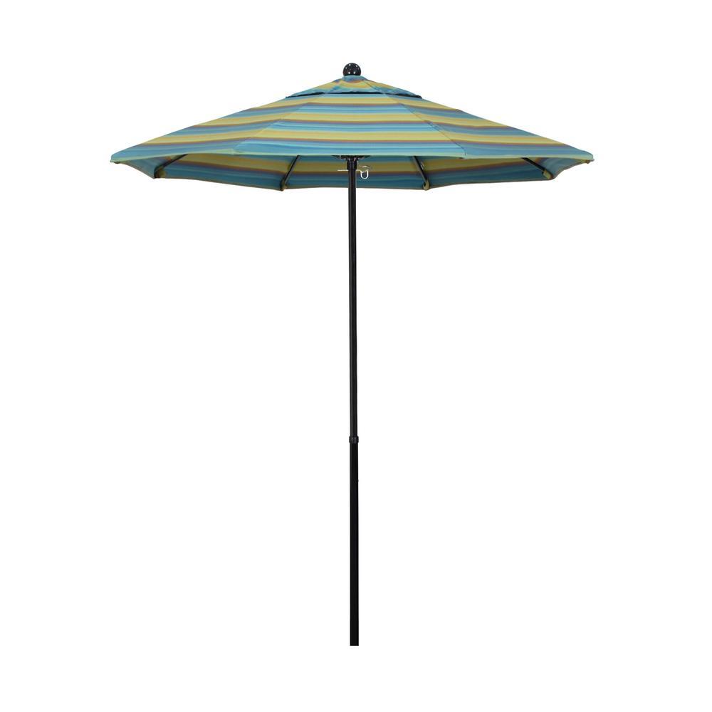 7.5 ft. Fiberglass Market Push Lift Patio Umbrella in Astoria Lagoon Sunbrella