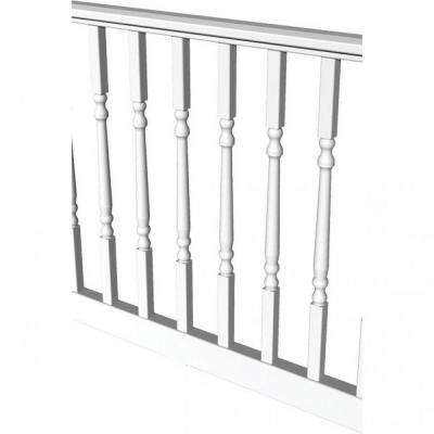 White Vinyl Turned Baluster Level Rail Kit